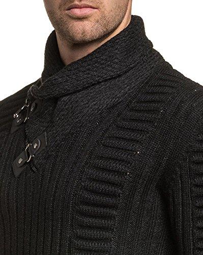 BLZ jeans - Pullover homme noir maille relief col châle zippé Noir