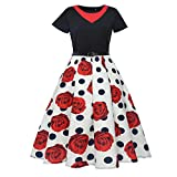OverDose Damen Urlaub Reisen Stil Frauen Retro Print Bodycon Kurzarm Karneval Abend Party Bar Dance Schlank Ball Swing Kleid Dirndl(Rot,EU-34/CN-M)
