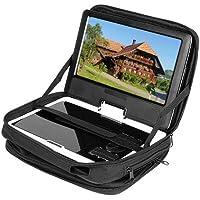 Bolsa de transporte para reproductor de DVD portátil negro de 9,5pulgadas, con correa para reposacabezas de coche