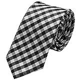 GASSANI Schmale dünne 6cm Krawatte kariert | Karo Herrenkrawatte zum Sakko Anzug | Schlips Binder mit Schwarze Weisse Karos