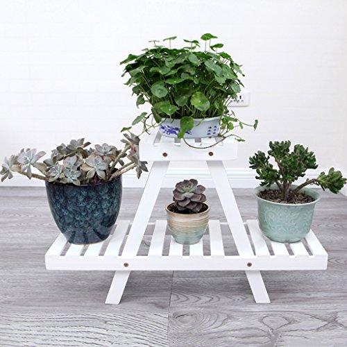 WSSF- Plantes charnues Bureau Petites Fleurs Faites glisser Simple Bois Solide Fleur Pastorale Stand Salon Balcon Plancher Fleur Pot Rack Couleur, Taille En Option