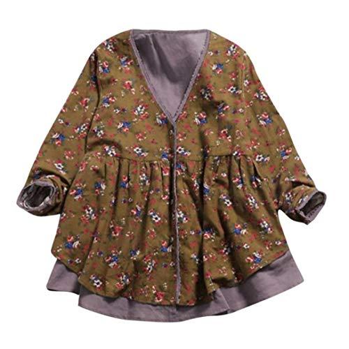 ZIYOU Geblümt Mantel Baumwolle Leinen Damen, Frauen Retro V-ausschnitt Trenchcoat Herbst/Outdoor Strickjacke Langarm Pullover(XL,Gelb)