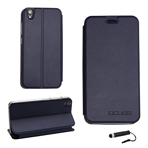 Tasche für UMIDIGI Diamond/ UMIDIGI Diamond X Hülle, Ycloud PU Ledertasche Metal Smartphone Flip Cover Case Handyhülle mit Stand Function Marineblau