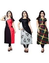 AK Fashion Women's Crepe Combo pack of 3 Piece Kurti (Multicolour) 133