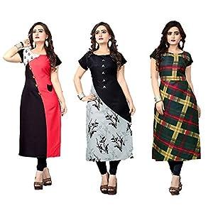 A.K.Fashion Women's Crepe A-Line Kurta(Pack of 3)