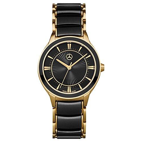 'MERCEDES BENZ Original Women–Business Wrist Watch Black/Gold