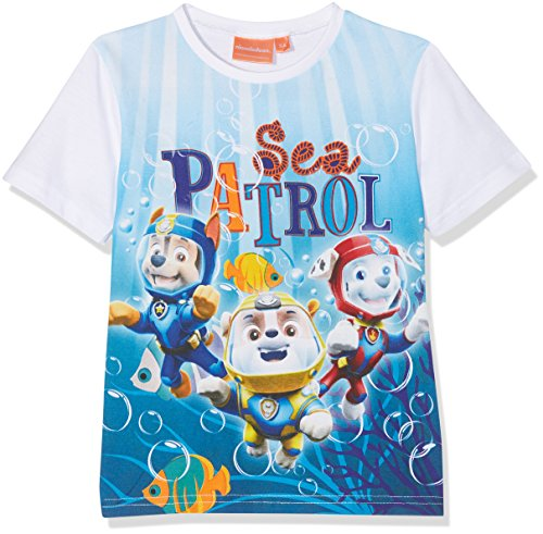 Nickelodeon Jungen T-Shirt Paw Patrol Sky and Sea, Türkis (Lblue Optic White), 4 Jahre