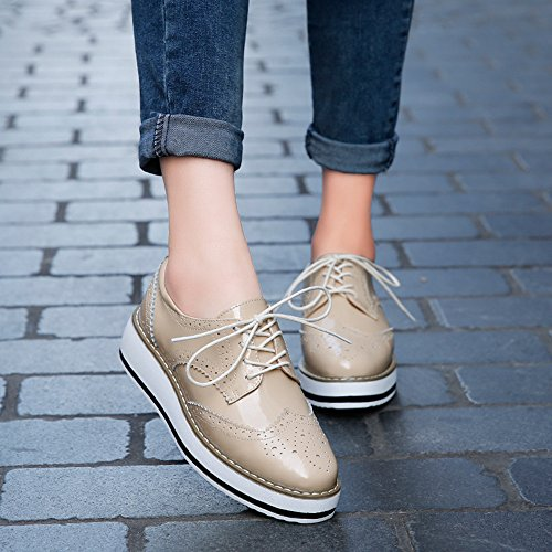 Chaussures Femme de Ville à Lacets Brogues Derbies Baskets Cuir Plateforme 4.5 cm Noir Blanc Rouge abricot