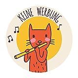 banjado Bitte keine Werbung Aufkleber für Ihren Briefkasten/wetterfest und UV-beständig/runder Briefkastenaufkleber Schild mit Katze