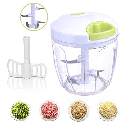 HEMCER Gemüseschneider 5 Klingen 6 Tassen Finecut / Obst und Gemüse Zwiebel Zerkleinerer Küche Multizerkleinerer / Multi-Zerkleinerer / Universal-Zerkleinerer