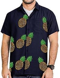 La Leela rayonne broderie ananas manches courtes fraîche superbe mens chemise camp sportswear beachwear manches courtes poche avant bleu marine hawaïen