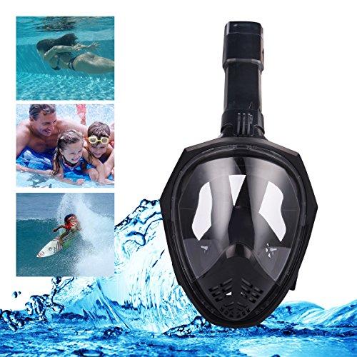 Schnorchel Maske,180 ° großes Blickfeld Voll Gesicht Faltbare Schnorchel Maske mit abnehmbarer Kamera Mount Ohrstöpsel Reisetasche(Anti-Fog, Anti-Leck) (L, Schwarz)