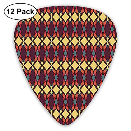 Guitar Picks - Abstract Art Colorful Designs,Abstract Ethnic Traditional Figures Fractal Design Antique Revival Retro Artwork,Unique Guitar Gift,For Bass Electric & Acoustic Guitars-12 Pack
