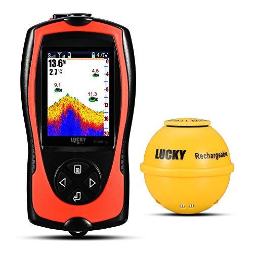 Smart Fish Finder Tragbarer Wandler Sonar Sensor 147 Fuß Wassertiefe Finder LCD Bildschirm Echo Sounder Fishfinder mit Fisch, attraktive Lampe für Eisfischen, Meeresangeln Radar-bildschirm