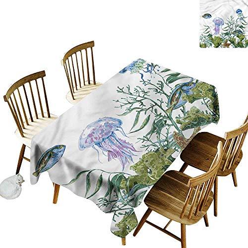Tim1Beve Tischdecke für Kinder/Kinder, Meeresalgen, Quallen, Tischdecke für Küche, Esstisch, Tisch, Decoratio, 137 cm B x 183 cm L