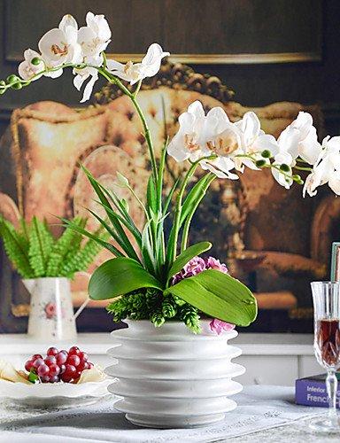 """HUAHUA,Künstliche Blumen, 22 \""""elegant bunten Schmetterling Orchideen mit weißen Keramik-Vase , purple"""