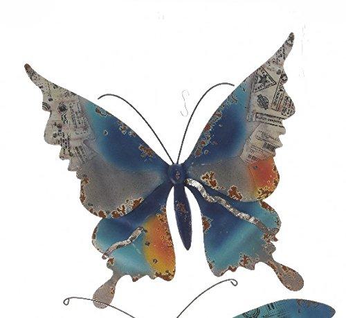 TFH Wanddeko Schmetterling bunt XXL Metall Wandverzierung Gartendeko modern ausgefallen Deko Rostdeko Gartendeko (Blau/Orange)