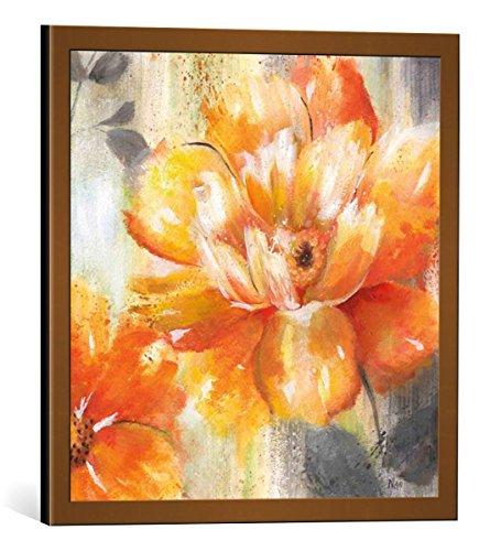 kunst für alle Bild mit Bilder-Rahmen: Nan An Orange Crush II - dekorativer Kunstdruck, hochwertig gerahmt, 40x40 cm, Kupfer gebürstet