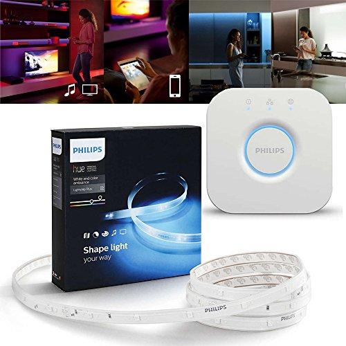 Philips Hue LED LightStrip Plus 2m Starter Set + Bridge, RGBW Strip (separates Weisslicht), 16 Millionen Farben, app-gesteuert
