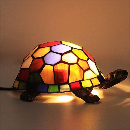GEYAO Europäische Moderne Schildkröte Schildkröte Stil Farbglas Kreative Kinder Augenschutz Nachtlicht Schlafzimmer Nachttischlampe -