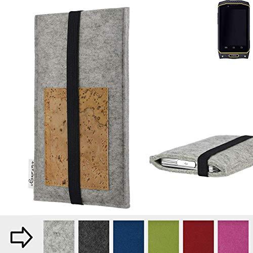 flat.design für Cyrus CS 19 Handyhülle Case Sintra mit Kartenfach (Natur) und Gummiband-Verschluss (schwarz) - passgenaue Smartphone Tasche Schutz Hülle aus 100% Wollfilz (hellgrau) für Cyrus CS 19