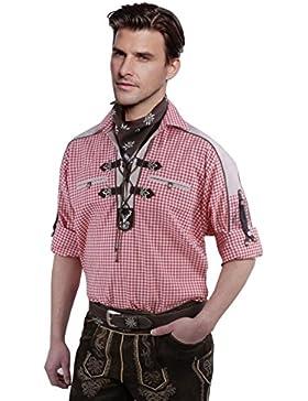 Top-Quality Trachtenhemd Herren - Rot-Karo/kariert - Langarm/Kurzarm - Komfort Reine Baumwolle - extravagentes...