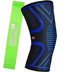 Kniebandage inklusive Übungsband von DANISH ENDURANCE, Kompressionsbandage für Damen & Herren, Unterstützung beim Laufen, Joggen, Sport, Gelenkschmerzen, Arthritis, Rehabilitation nach Verletzungen