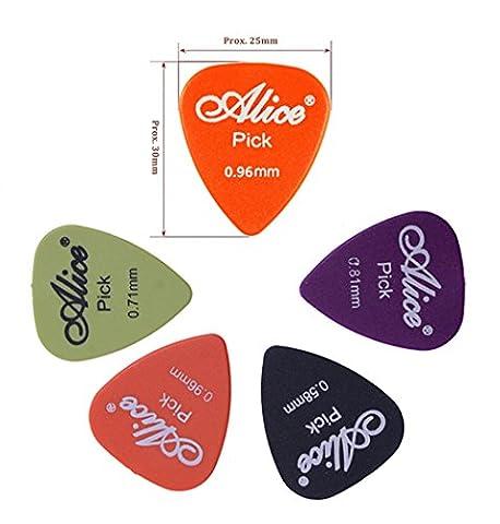 36-Stück Gitarren Plektren Picks Set in dünner, mittlerer, dicker für Ihre E-, Akustik- und Bass-Gitarre, Alice 4 verschiedene Stärke 0,58 mm / 0,71 mm / 0,81 mm / 0.96mm