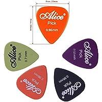 Alice 12PCS celluloide plettri plettri per chitarra elettrica acustica colorato 0.46mm/0.71mm/0.81mm in 1Round metal Picks box 36PCS