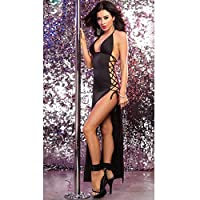 European Style Black Sleeveless And Backless Party Dress For Women(s016)