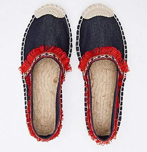 YOPAIYA Casual Espadrilles Rot Fashion ethnischen Quaste Flachbild Frauen Frühling gedruckt Sticken Schlupf auf die Fischer Hanfseil Schuh, 40 Army Navy Schuhe