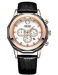 Reloj de pulsera para mujer 2042Cronógrafo correa de cuero cuarzo relojes con fecha luminoso Negro
