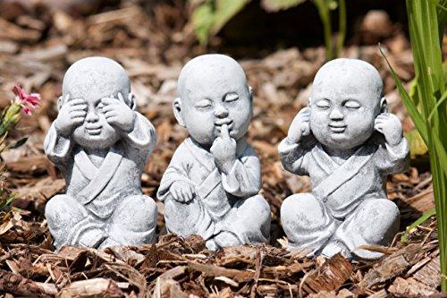 """Steinfigur 3er Set Buddha Mönche """"nichts sehen, nichts hören, nichts sagen"""" , Frostfest bis -30°C, massiver Steinguss"""