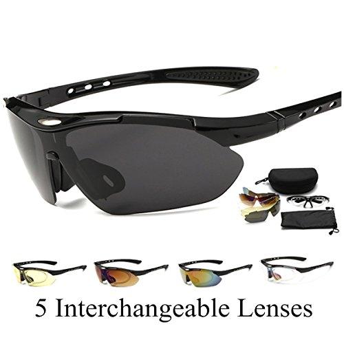 Occhiali da sole uomo occhiali per correre pluiesoleil con 5 lenti intercambiabili per guidare, andare in bicicletta, correre, sci, pesca