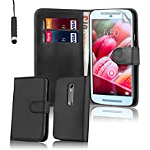 32nd® Funda Flip Carcasa de Piel Tipo Billetera para Motorola Moto G 3 (3. Generacion, 2015) con Tapa y Cierre Magnético y Tarjetero - Negro