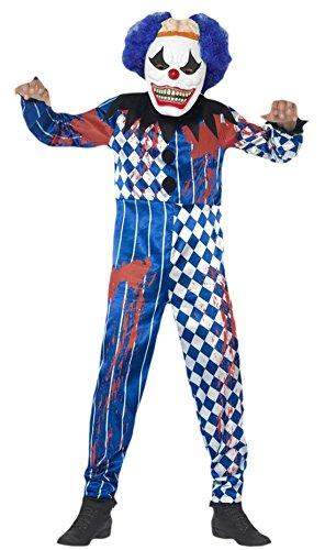 Fancy Ole - Jungen Boy Sinister Clown Karneval Halloween Komplett Kostüm , Blau, Größe 140-152, 10-12 (Jungen Kostüm Kid Teufel)