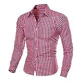 IMJONO Herren Herbst und Winter Langarm-Plaid Selbstkultivierung Shirt Top Bluse (EU-48/CN-XL,Rot)