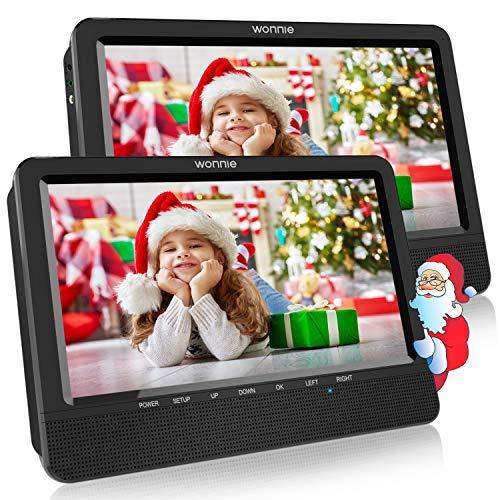 WONNIE 10,5 Tragbare Auto 2 Monitore DVD Player 4 Stunden Kopfstütze Monitor Fernseher 1024 * 600 Bildschirme, Unterstützung USB/SD/AV IN&Out (1Host +1 Slave)