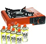PORTABLE SINGLE GAS STOVE COOKER WITH 4 x GAS BOTTLES CAMPING COOKING BBQ NEW