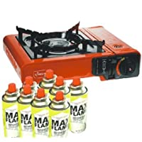 tenty.co.uk Portable Single Gas Stove Cooker with 4 x Gas Bottles Camping Cooking BBQ New