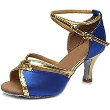 SWDZM Mujer Zapatos de baile/estándar de Zapatos de baile latino Satén Ballroom modelo-ES-225 Azul 38 EU p8eLRB0QH