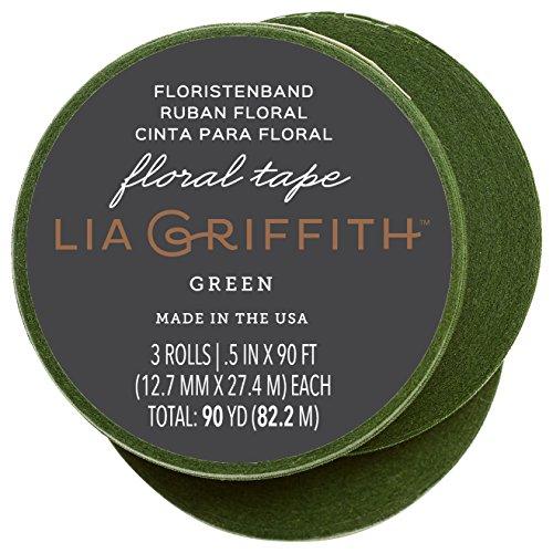 Lia Griffith Nastro rivestito in cera per artigianato, carta crespa, verde muschio, 9,1 m per rotolo