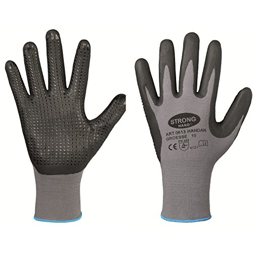 Handschuh HANDAN genoppt nahtlos EN388 flexibel griffig Arbeitshandschuh Noppen (9, Einzeln (1 Paar))