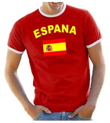 Coole-Fun-T-Shirts Herren T-Shirt Spanien Ringer, rot, L, 10837_Spanien_HERI_GR.L