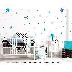 """I-love-Wandtattoo WAS-10099 - Set de pegatinas de pared para habitación infantil """"estrellas en azul para los niños"""", para pegar, tatuaje mural, pegatinas, decoración de pared 50 piezas"""