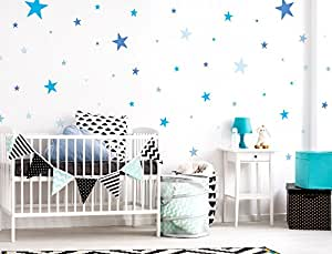 i love wandtattoo was 10099 kinderzimmer wandsticker set blaue sterne f r jungen zum kleben. Black Bedroom Furniture Sets. Home Design Ideas