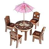 Baoblaze 6pcs/Set Miniatur Esszimmer Holzmöbel Kinder Rollenspielzeug (1 Tisch + 4 Stühlen + 1 Sonnenschirm)