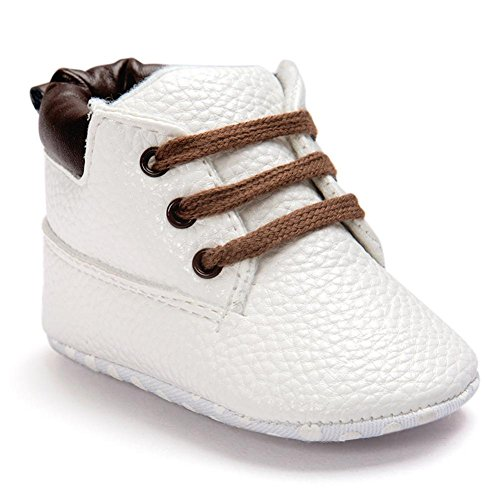 FNKDOR Baby Jungen Mädchen Lauflernschuhe rutschfest Weiche Schuhe für Neugeborene 0-18 Monate (12-18 Monate, Weiß)