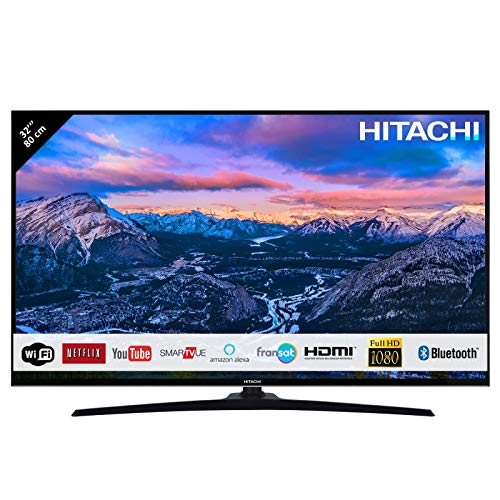 "Hitachi Téléviseur de 32"" (80,01cm) FHD/Smart TV: Netflix,Youtube,Internet,Facebook/WiFi/Bluetooth / 3 HDMI/VGA-PC/USB"
