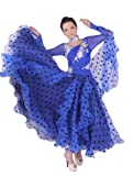 Colorfulworldstore Tailored Ladies Ballroom Modern Waltz Tango Dance Dress-Over all dress-blue